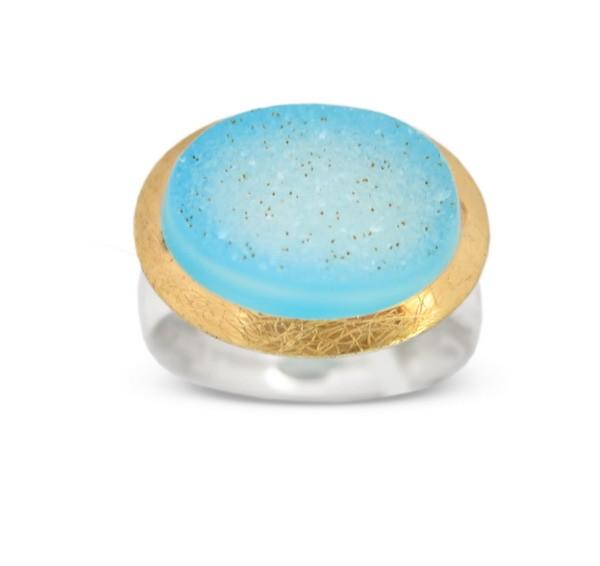 Drusenquarz Ring, blau, Drusy