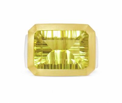 Lemonquarz Ring, bicolor