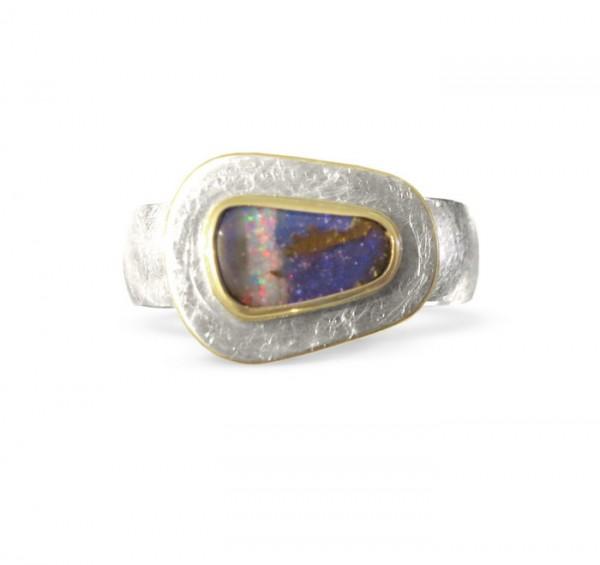 Silberring mit Boulder Opal