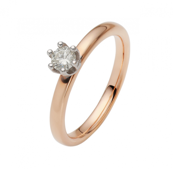 Verlobungsring 750 Rosegold + Weißgold