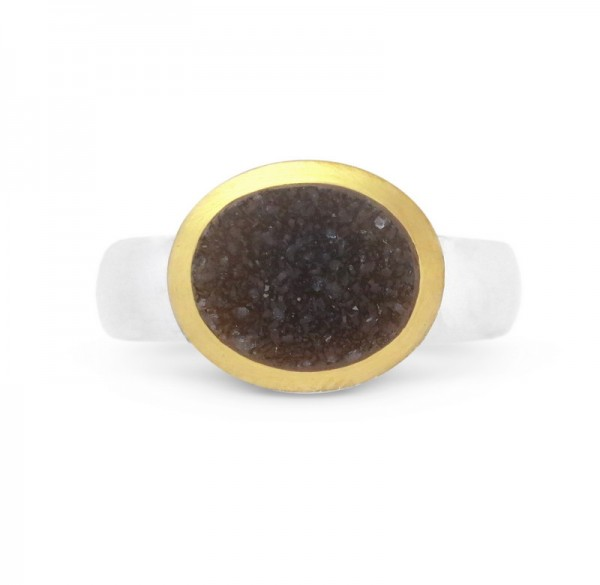 Drusenachat Ring, bicolor