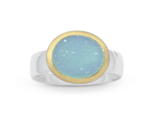Drusenquarz Ring in bicolor