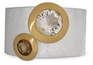 Bergkristall Rauchquarz Ring