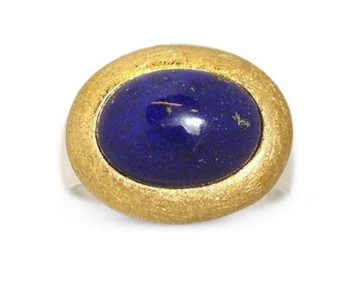 Lapis Ring in bicolor