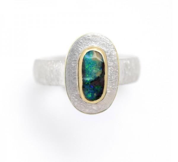 Boulderopal Ring, Silberring mit Gold