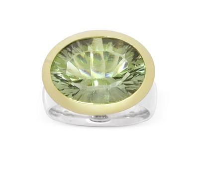 Prasiolith Ring, bicolor