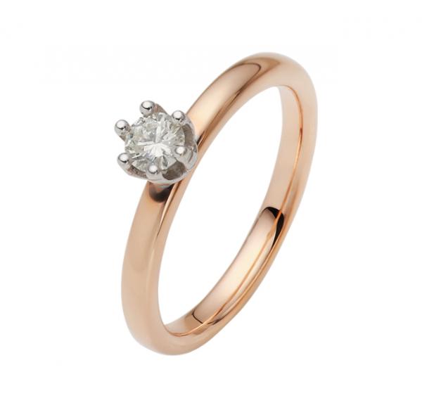 Verlobungsring 585 Rosegold + Weißgold