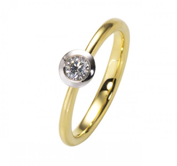 Verlobungsring 585 Weißgold+Gelbgold