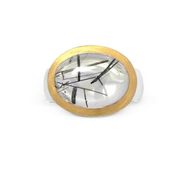 Turmalinquarz Ring, bicolor