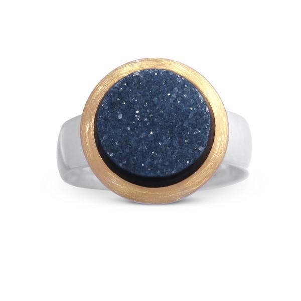 Drusenachat Ring, bicolor