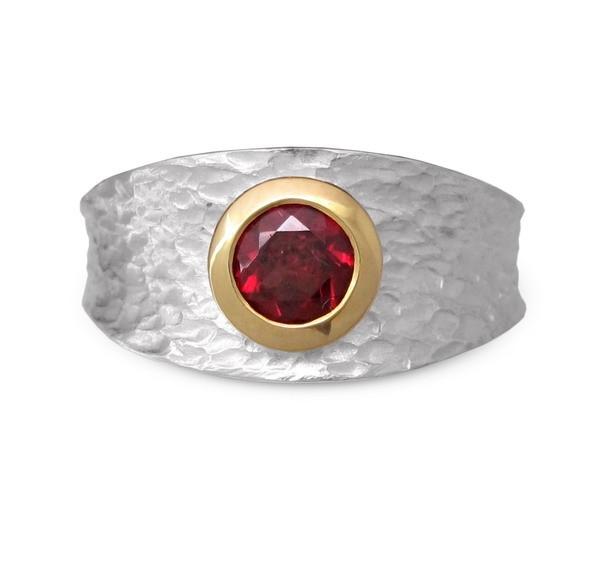 Granat Ring- bicolor