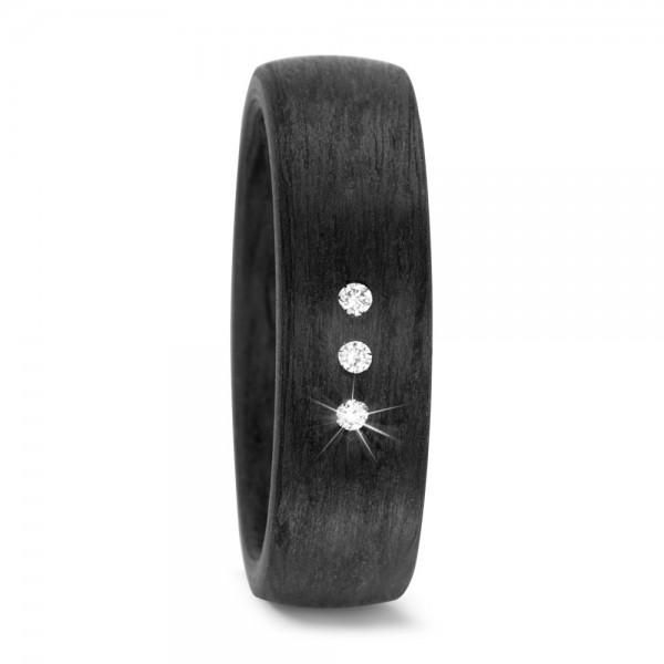 Carbon Ring mit Diamanten
