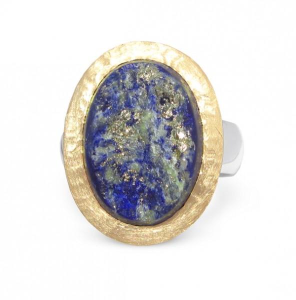 Lapislazuli Ring Natur Kristall - Gold Fassung