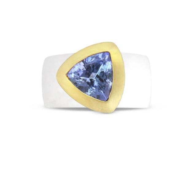 Tansanit Ring, bicolor