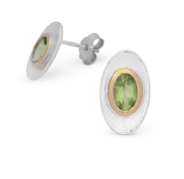 Peridot Ohrstecker in bicolor