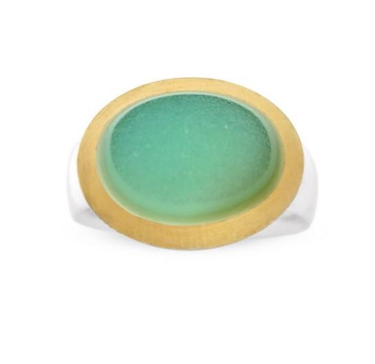 Achat Druse Ring, grün, Drusy
